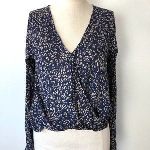 Urban Outfitters Long Sleeve Faux Wrap Blouse S